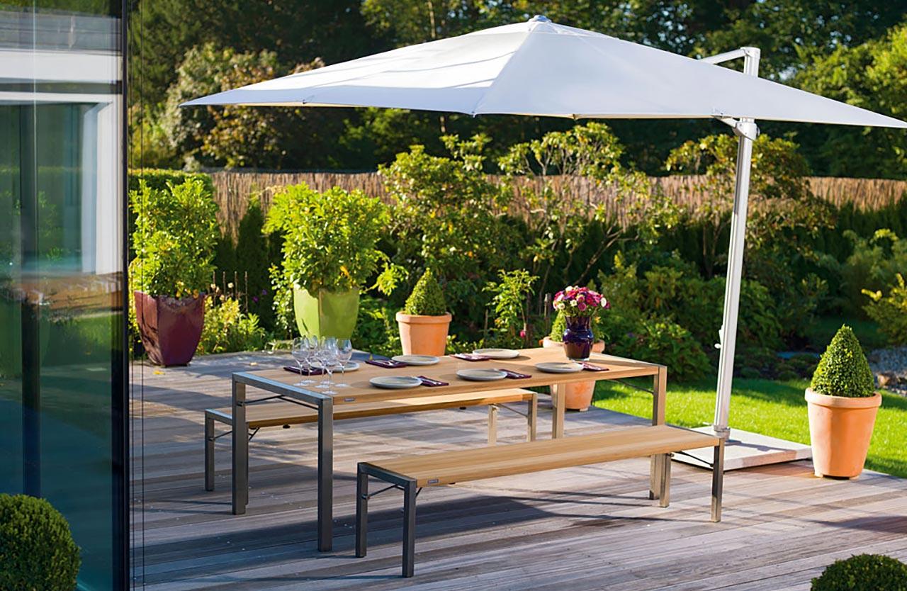 Huber Mein Lebensgefühl Garten Terrasse Balkon Möbel Weishäupl FlipOutdoor Bank Tisch